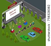 Open Air Cinema Concept 3d Isometric View Include of People, Car Outdoor Summer Night Leisure. Vector illustration of Movie Festival | Shutterstock vector #758328382