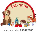 Stock vector pet shop sign template with many pets illustration 758329108