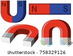 different shapes of magnets... | Shutterstock .eps vector #758329126