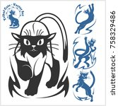 tribal cats for tattoo   vector ... | Shutterstock .eps vector #758329486
