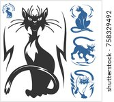 tribal cats for tattoo   vector ... | Shutterstock .eps vector #758329492