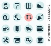 construction icons set with... | Shutterstock .eps vector #758332342