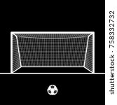 soccer goal with ball. football ... | Shutterstock .eps vector #758332732