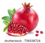 ripe pomegranate fruits with... | Shutterstock . vector #758338726