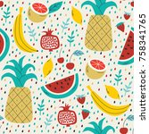 summer seamless pattern with... | Shutterstock .eps vector #758341765