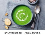 broccoli  spinach cream soup in ...   Shutterstock . vector #758350456