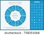 healthy food infographic... | Shutterstock .eps vector #758351068