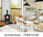 cosy nordic kitchen in an...   Shutterstock . vector #758351638