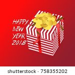 color gift box  bows and... | Shutterstock . vector #758355202