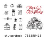 merry christmas. holiday vector ... | Shutterstock .eps vector #758355415