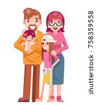 family concept cute happy young ... | Shutterstock .eps vector #758359558