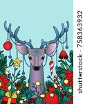christmas deer with objects... | Shutterstock .eps vector #758363932