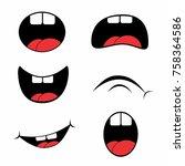 hick cartoon mouth set vector   Shutterstock .eps vector #758364586