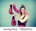 young woman looking with... | Shutterstock . vector #758365012