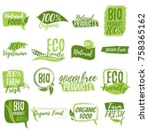 stickers and badges for organic ... | Shutterstock .eps vector #758365162