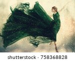 beautiful woman in a green... | Shutterstock . vector #758368828