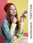 fashionable hipster girl in hat ... | Shutterstock . vector #758371366