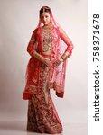 indian bride in traditional... | Shutterstock . vector #758371678