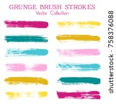 watercolor  ink or paint brush... | Shutterstock .eps vector #758376088