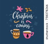 vector winter card with... | Shutterstock .eps vector #758378266