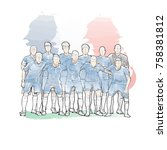 soccer team pose for a photo... | Shutterstock .eps vector #758381812