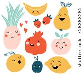 cute cartoon smiley fruits... | Shutterstock .eps vector #758383285