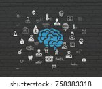 health concept  painted blue... | Shutterstock . vector #758383318