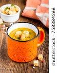 orange cream soup in   up with... | Shutterstock . vector #758384266