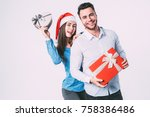 man and woman smiling and... | Shutterstock . vector #758386486