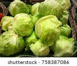 a bunch of lettuce   Shutterstock . vector #758387086