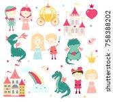 vector set of cute fairy tale... | Shutterstock .eps vector #758388202