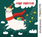 merry christmas card with cute... | Shutterstock .eps vector #758401795
