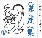 tribal cats for tattoo   vector ... | Shutterstock .eps vector #758403202