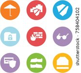 origami corner style icon set   ... | Shutterstock .eps vector #758404102