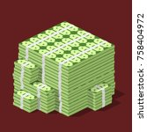 big stacked pile of cash....   Shutterstock .eps vector #758404972