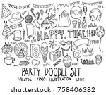 set of party illustration hand... | Shutterstock .eps vector #758406382