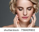 beautiful woman short blonde... | Shutterstock . vector #758409802