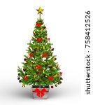 3d cg rendering of a christmas... | Shutterstock . vector #758412526