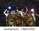 new 2018 year is coming  group... | Shutterstock . vector #758412952