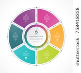 infographic circle in thin line ... | Shutterstock .eps vector #758418328