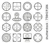 different icon set of targets... | Shutterstock .eps vector #758419186
