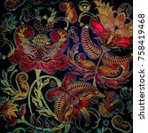 exotic floral pattern on black... | Shutterstock . vector #758419468