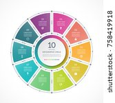 infographic circle in thin line ... | Shutterstock .eps vector #758419918
