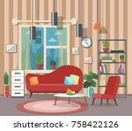 cozy living room interior with... | Shutterstock .eps vector #758422126