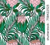 seamless tropical pattern... | Shutterstock .eps vector #758422525