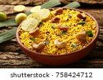 chitranna or indian lemon rice... | Shutterstock . vector #758424712