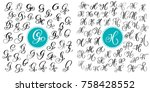 set letter g and h. hand drawn... | Shutterstock .eps vector #758428552