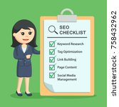 businesswoman with seo checklist | Shutterstock .eps vector #758432962