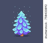 pixel art snowy christmas tree. ... | Shutterstock .eps vector #758433892