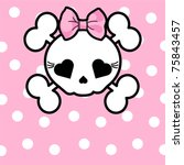 Very Cute Skull With Bow On...